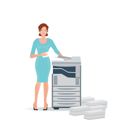 copy machine: Business woman using copy machine or printing machine with stacked pile of file documents, illustration.