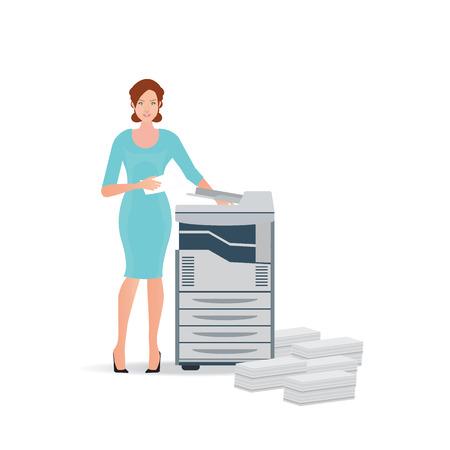 Mujer de negocios que usa la máquina de copia o de la máquina de impresión con la pila apilada de los documentos de archivo, la ilustración.