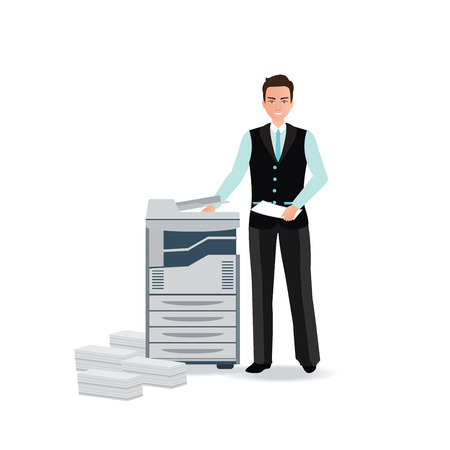 pile of documents: Businessman using copy machine or printing machine with stacked pile of file documents, illustration. Illustration
