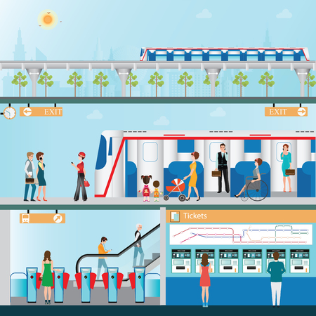 stazione ferroviaria di Sky con la gente, distributori automatici di biglietti, ferroviario, Mappa, ingresso della stazione ferroviaria, la piattaforma e il cielo treno sulla città di sfondo vista, viaggi d'affari, infografica di illustrazione di trasporto. Vettoriali