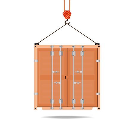 Logistic icon crane hook container isolated on white, flat design  illustration.