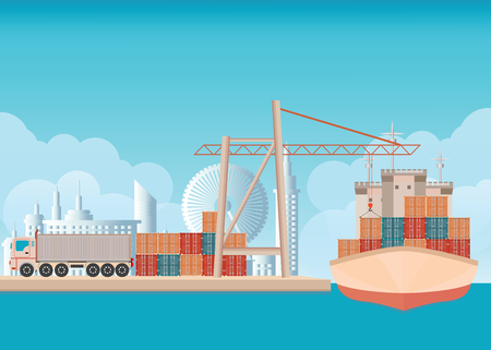 sea freight: Loading containers on a sea freight cargo ship with crane background with blue sky and clouds ,transportation flat design vector illustration.