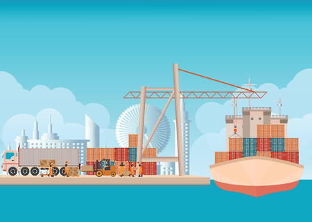 Loading containers on a sea freight cargo ship with crane and worker man background with blue sky and clouds ,transportation flat design vector illustration. Illustration