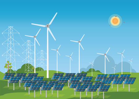 high voltage: Solar energy panels and wind turbine, conceptual power and energy Flat design style vector illustration.