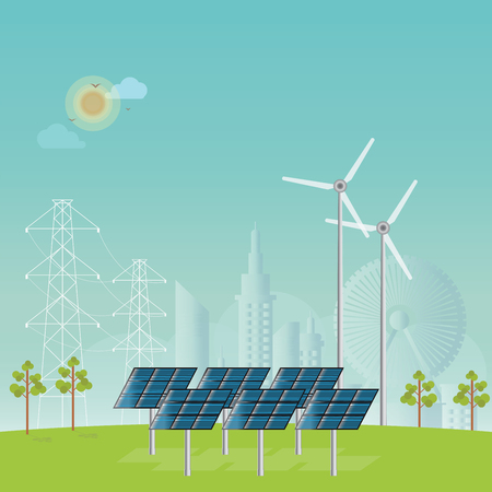 Solar energy panels and wind turbine on city view background, conceptual power and energy Flat design style vector illustration. Illustration
