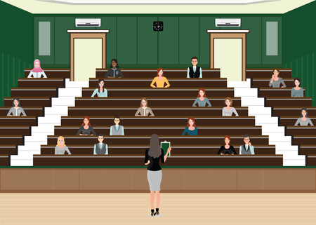congress center: Business woman Conference or Presentation at Audience conference hall, interior building , Diverse people  character flat design vector illustration.