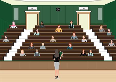 Conferenza o presentazione della donna di affari alla sala per conferenze del pubblico, costruzione interna, illustrazione piana di vettore di progettazione di carattere della diversa gente. Vettoriali
