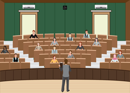 congress center: Businessman Conference or Presentation at Audience conference hall, interior building , Diverse people  character flat design vector illustration.