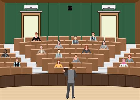Conferenza o presentazione dell'uomo d'affari alla sala per conferenze del pubblico, costruzione interna, illustrazione piana di vettore di progettazione di carattere della diversa gente.