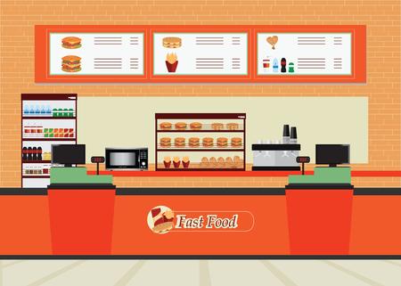 cibo ristorante interno veloce con hamburger e bevande, cibi e bevande design piatto illustrazione vettoriale.