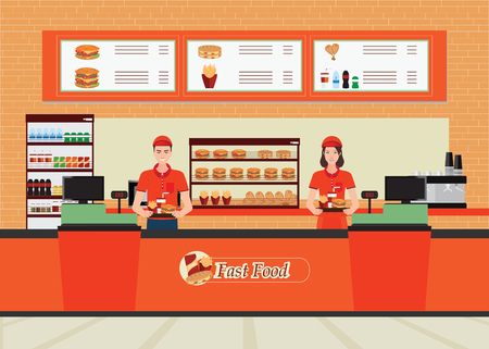 Male and female cashier at fast food restaurant  interior with hamburger and beverage, character flat design vector illustration.