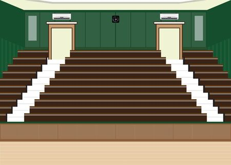 conventions: University lecture main hall with a Large Seating Capacity, lecture room interior building flat design vector illustration.