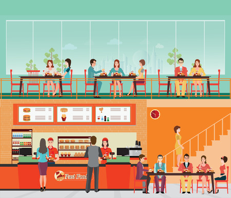 People Buying Fast Food at Fast food restaurant interior with hamburger and beverage, food and drink flat design vector illustration.