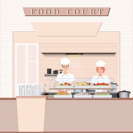 Chef cooking at Food court in a shopping mall , flat design vector illustration. Stock Illustratie