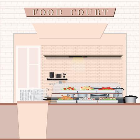 쇼핑몰, 플랫 디자인 벡터 일러스트 레이 션에에서 음식을 가진 푸드 코트.