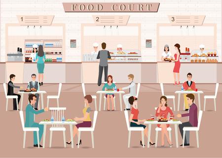 La gente che mangia in una food court in un centro commerciale, design piatto illustrazione vettoriale carattere.