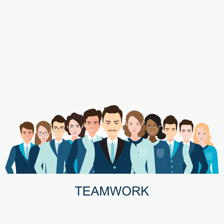 diverse business team: Business people isolated on white background, Business team in Different male and female faces, teamwork , Diverse people character flat design vector illustration.