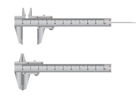 precise: Vernier Caliper isolated on white background, technical equipment flat design vector illustration. Illustration