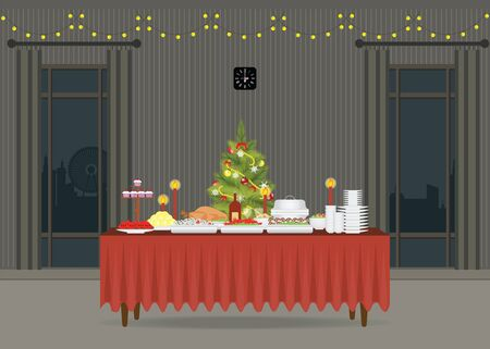 banquet table: Christmas food on the table Decorating with Christmas tree, table for festive holiday romantic dinner, Banquet table with food and drinks, flat design style vector illustration Illustration