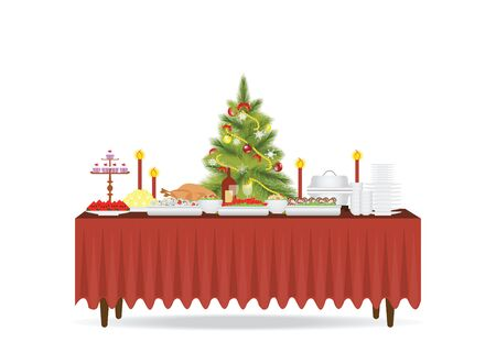 banquet table: Christmas food on the table Decorating with Christmas tree isolated on white background, table for festive holiday romantic dinner, Banquet table with food and drinks, flat design style vector illustration