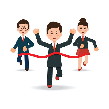 Business people running race competition with happy businessman winning the race breaking finish line,business success conceptual , cartoon flat design vector illustration.