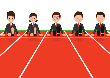 crouch: Businessman and businesswoman lined up getting ready for race in business, business competition,cartoon flat design conceptual vector illustration. Illustration
