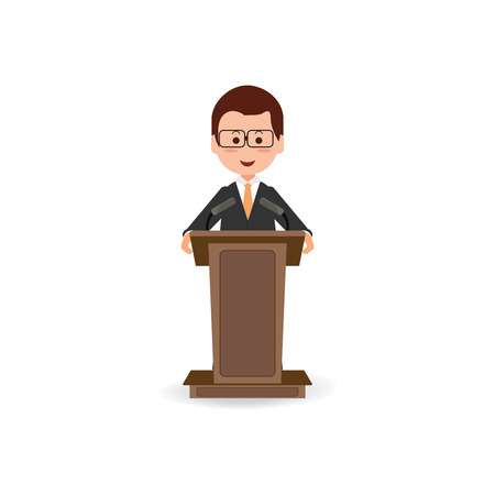 Businessman standing to speaking and presentation on podium with microphones , Cartoon character Flat style vector illustration
