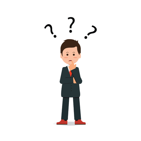 guess: Businessman with question mark pondering problem isolated on white background, business people concept flat Vector Illustration