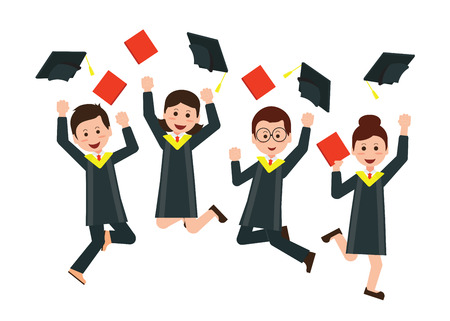 Group of happy graduates throwing graduation hats in the air celebrating,Cartoon character Flat style vector illustration.