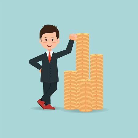 millonario: Feliz hombre de negocios de pie cerca de una pila de monedas de oro, el éxito de la empresa conceptual, diseño de dibujos animados vector Ilustración plana. Vectores