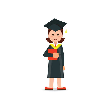 Happy student graduated wearing mortar board hat and gown isolated on white background, education success conceptual cartoon character Flat style vector illustration.
