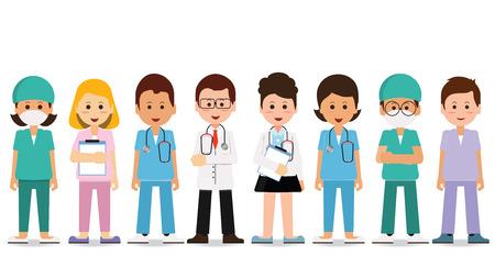 equipo médico aislado en blanco, Conjunto de médico personal del hospital, los médicos, las enfermeras y el cirujano, Salud y concepto médico, ilustraciones de dibujos animados carácter vectorial. Ilustración de vector