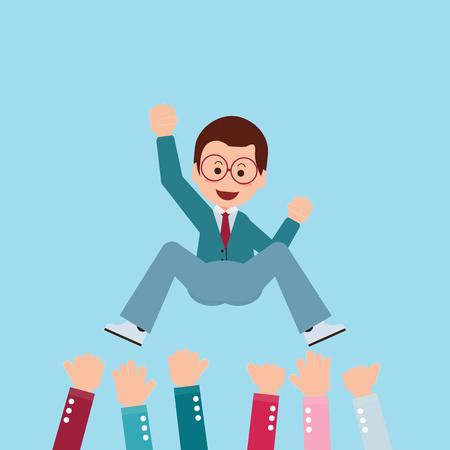 exitoso hombre de negocios está vomitando por su trabajo en equipo o colega. Sentimiento y la emoción, el éxito y el trabajo en equipo, personaje de dibujos animados ilustración conceptual del vector. Ilustración de vector