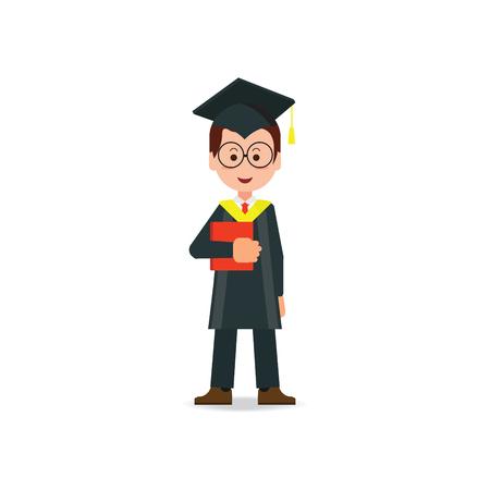 Happy student afgestudeerd dragen mortel board hoed en toga op een witte achtergrond, succes onderwijs conceptuele stripfiguur Flat stijl vector illustratie.