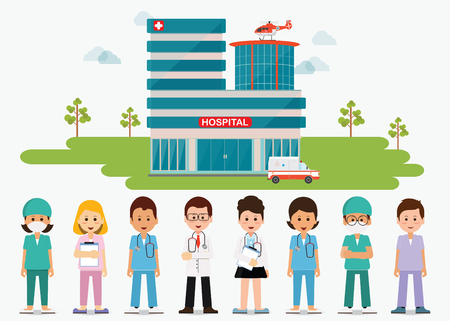 Medical staff standing in front of hospital building with ambulance and helicopter, Doctors and nurse, medical health care cartoon character flat design vector illustration.