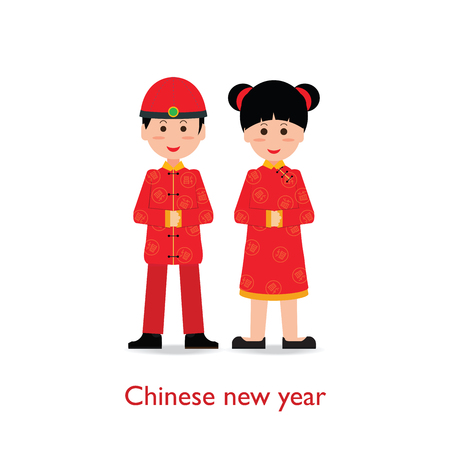 Chinese Boy and Girl dolls isolated on white background, Chinese New Year, cartoon character flat design vector illustration.