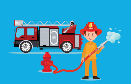 emergency engine: Fireman firefighter in uniform with water hose, emergency vehicle fire engine truck,  firefighting concept illustration.