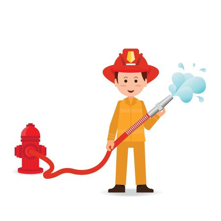 Fireman spraying a water hose isolated on white background, cartoon character flat design vector illustration.