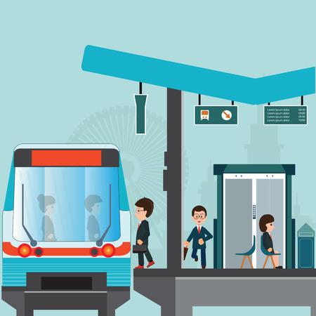 Mensen wachten op een trein op Station perron van de metro of sky train, laatkomer man loopt langs het perron naar de trein, zakenreizen, vervoer vectorillustratie bereiken.