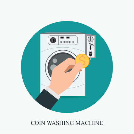 Coin washing machines with integrated payment system and hand holding coin,icon flat design vector illustration. Illustration