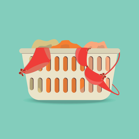unwashed: Laundry basket with underwear and dirty clothes ,Flat style icon vector illustration.