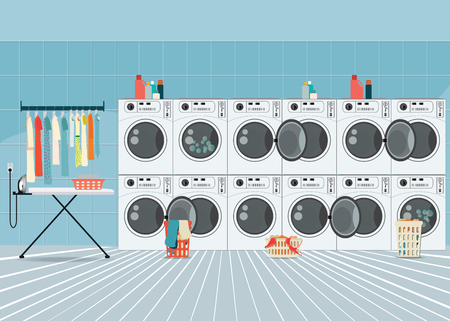 dry cleaners: A row of industrial washing machines in laundry shop, Laundry service banner concept, laundry room with facilities for washing clothes, vector illustration.
