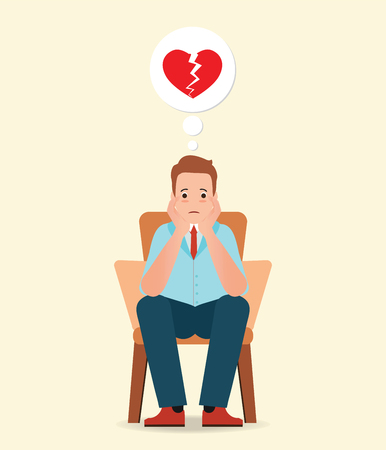 Anxious man thinking and feeling sadness about broken heart sitting on the chair isolated on white, cartoon character vector illustration.