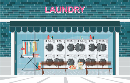 Building exterior front view and interior of laundry room with row of industrial washing machines and facilities for washing clothes, Laundry service banner concept, vector illustration.