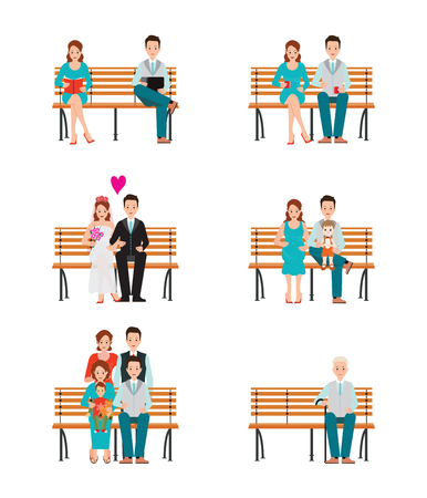 Family Generations Development Stages Process Over Time, Stages of life of young couple, childhood friendship, first date and wedding, first baby, old parents and adult son, Detailed character people vector illustration. Stock Illustratie