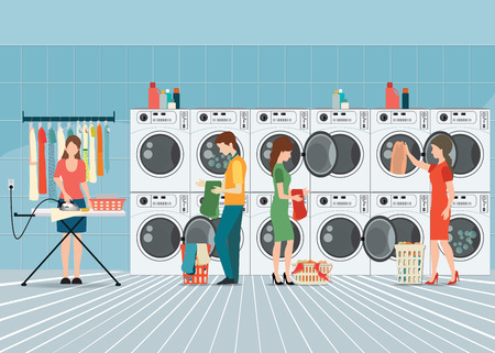 People in laundry room with row of industrial washing machines and facilities for washing clothes, Laundry service banner concept, vector illustration. Vectores