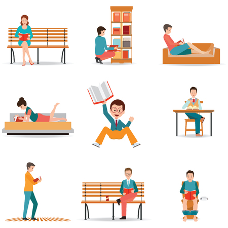 charactor: Reading people flat character set with books magazines newspapers isolated on white, cartoon charactor vector illustration.
