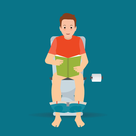 Man sitting on toilet bowl and reading a book, toilet paper, cartoon charactor vector illustration.