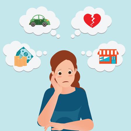 Mujer de negocios seria con iconos de dinero, coche, casa y corazón roto, ilustración vectorial conceptual de personaje de dibujos animados. Ilustración de vector
