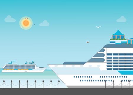 Cruise ship anchored  at sea port, Ocean traveling visual, flat design vector illustration. Illustration